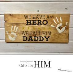 Our HERO sign comes with paint for you to complete with hand prints at home. What a great Daddy/Grandpa gift! #sawdustsavvy #madewithlove #madewithloveatsawdustsavvy #diyboutique #diyworkshop #stillwater #stillwatermn #smallbusiness #smallbusinesslove #diy #woodsigns #customsigns #palletsign #makersgonnamake #signmaker #woodensign #rusticsign #rusticdecor #doityourself #diyproject #diyshop #handmade#daddy #hero #giftideas #GiftsforHim