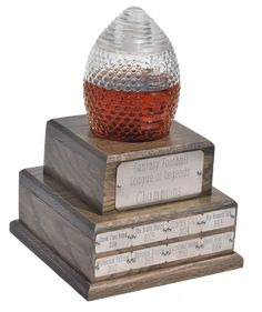 Glass Fantasy Football Trophy Decanter (2 Week Backorder) Fantasy Football League, Fantasy League, Fantasy Baseball, Baseball Trophies, Baseball Cards, Trophy Stand, Home Wet Bar, Engraved Plates, Champions Trophy