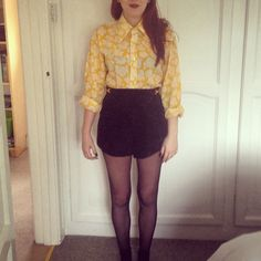 Vintage yellow shirt, Beyond Retro suede black shorts