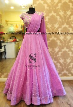 Wow just amazing Half Saree Lehenga, Bridal Lehenga Choli, Anarkali Dress, Choli Dress, Lehenga Gown, Pink Lehenga, Sarees, Indian Wedding Gowns, Indian Gowns Dresses