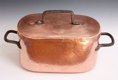 """Daubiere - French Stew Pot with Lid. Copper with Iron Handles. Circa 1870. 13.25"""" x 8.5"""" x 6.75""""."""
