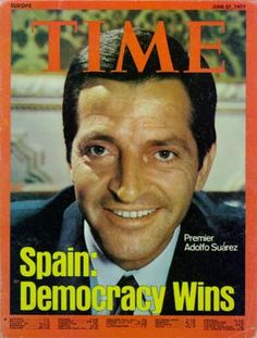 Photo of Adolfo Suarez on the cover of Time Magazine enlarge photo because of Spain's transition to democracy.