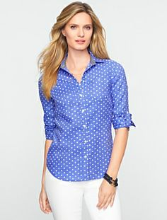 Talbots - Fun Dots Cross-Dyed Linen Shirt | Blouses and Shirts | Misses