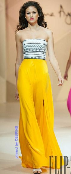 Love this tribal print paired with cheerful brights and flowing trousers!