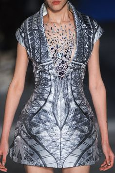 Digital print dress with mirrored pattern & structured silhouette; symmetrical fashion prints // Alexander McQueen