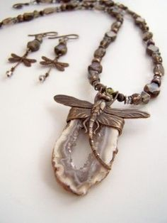 Dragonfly Geode Neck