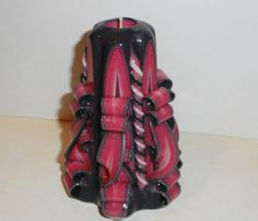 Pink Grey Unique handmade gift candle Hand Carved candles 5 inch/ 12cm @Etsy @etsylove #Etsy #Candle #Black #Pink #Curly #Carved