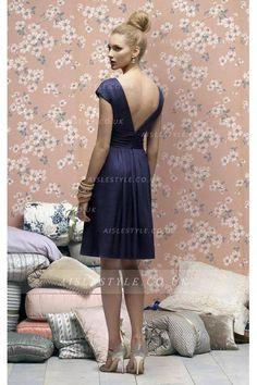 V-neck Empire Knee-length Satin Zipper Bridesmaid Dresses