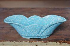 Blue Speckled Fluted Bowl Planter, Robins Egg Turquoise Teal Blue Ceramic, Mid Century Light Blue Spotted Pottery Planter, Bathroom Storage