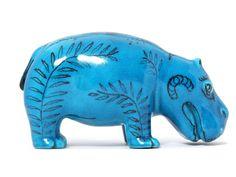 Blue Hippo Sculpture