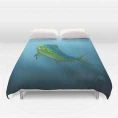 "Duvet Cover ••• ""El Dorado"" Mahi Mahi | Dolphin Fish art ~ wildlife artist Amber Marine ••• AmberMarineArt.com •••"