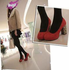 新款高跟专柜真皮裸色单鞋女鞋瓢鞋红色圆头公主豆豆鞋B201撞色-淘宝网