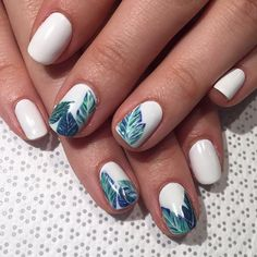 Blue and white #BANANALEAF #tropicalnails