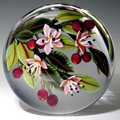 "Colin Richardson paperweight -  ""Flowering Cherries"", 2013, 3 1/4""w x 2 1/4""t, 18 oz. - #0536"