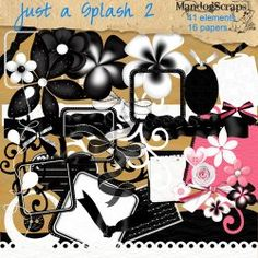 Just a Splash 2 is a full size black and white kit with just a splash of colour.  This kit compliments my first Just a Splash kit  Perfect for those romantic, wedding, valentine type themes  With 16 background papers 12x12 and 41 elements  Personal use  http://digitalscrapnshop.com/index.php?main_page=product_info=1_3_id=1419
