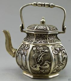 Collectible Decorated Old Handwork Tibet Silver Carved Fish Fruit Flower Tea Pot | eBay
