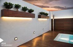 Design terrace in Valencia. Mediterranean-style balconies and terraces with exclusive furnishings … Rooftop Terrace, Terrace Garden, Indoor Garden, Outdoor Gardens, Terrace Design, Garden Design, Rooftop Lighting, Cool Deck, Small House Design