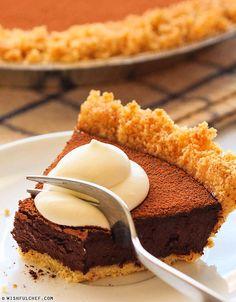 Gluten Free Chocolate Ganache Pie with Almond Crust // wishfulchef.com