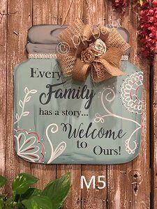 M5 - Large Family Story Mason Jar Door Hanger