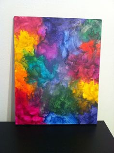 Melted Crayon Art Canvas. $45.00, via Etsy.  COOL!!! That is fun!!!