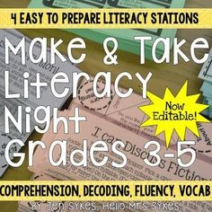 Literacy Night Make and Take - Parent Involvement Literacy Stations Grades Parent Night, Family Night, Literacy Stations, Literacy Skills, Reading Activities, Literacy Activities, Kindergarten Literacy, Camping Activities, Best Parenting Books