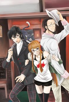 Persona 5 Akira Kurusu, Futaba, Sojiro