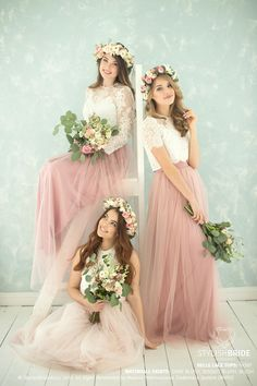 Blush Palette Bridesmaids Belle Lace Dress, Long Blush Waterfall Bridesmaids Skirts, Lace Crop Top and Tulle skirt long , Blush Prom Dresses Separate THIS LACE TOP with 3 sleeves length here –… Lace Bridesmaids, Lace Bridesmaid Dresses, Prom Dresses, Bridesmaid Skirt And Top, Bridesmaid Outfit, Dress Prom, Lace Weddings, Tulle Wedding, Wedding Gowns