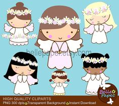 Angel Girls Flower Crown. Baptism. Comunion. Christening. PNG Digital Clipart Set. Personal and Commercial Use* INSTANT DOWNLOAD