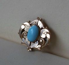 Antique Rolled Gold Turquoise Chatelaine Pin by OldTreazureTrunk, $48.00