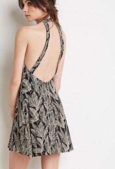 Leaf Print Halter Dress   Forever21 - 2000115342