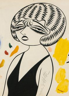 Caricature by Miguel Covarrubias - Miguel using shape wonderfully. In this pen and ink drawing, the piece is quite simple yet powerful. The patterns on the hair create an almost psychedelic look.