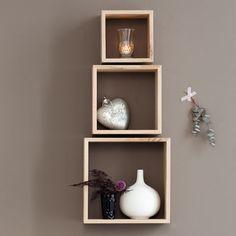 Set of 3 Display Cubes, Untreated Solid Oak Floating Cube Shelves, Cubes, Bedroom Decor, Wall Decor, Wall Shelves Design, Diy Home Crafts, Home Interior Design, Solid Oak, House Design