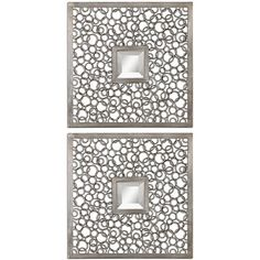 One of these ornate metal framed mirrors will add a unique decoration to your dresser or wall. The small, generously-beveled mirror is framed by beautiful welded interlocking ring designs that are finished with antiqued silver for a contemporary look.