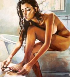 "Saatchi Art Artist Thomas Saliot; Bathroom Nude Painting, ""It's Friday again ! Varnish"" #art"