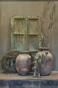 Esatto @ Hoffz, Baarlo www.esatto-by-rav… – monika s. Terracota, Wabi Sabi, Rustic Charm, Rustic Decor, Old Doors, French Decor, Vintage Flowers, Garden Furniture, Sculpture Art