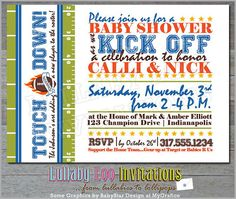 Football Baby Shower Invitations Product No 037  by LullabyLoo, $18.00 #football baby shower invitations #baby boy #etsy #artfire