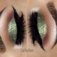 EOTD: @larlarlee in Mint glitter pigment by #OCCmakeup & #houseoflashes in Pixie Luxe  #MakeupGeek gel liner ✨#roselife
