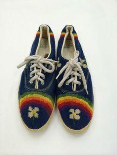 e0f721448fe RARE Vintage 60s Floral Vans Deck Shoes Doren by RogueRetro