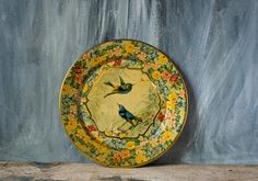 Vintage Tin Plate Flower and Bird Hand by NostalgicWarehouse, $46.00