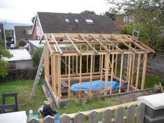 Shed - roof frame complete. Reused second hand timber. Timber frame shed construction. Construction Images, Shed Construction, Steel Trusses, Roof Trusses, Timber Walls, Timber House, Roof Detail, Wood Shed, Timber Cladding