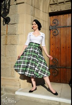 High Waisted Skirt in Plaid Taffeta