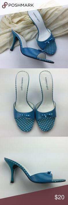 "Tommy Girl Sandals 6.5 M Heels Blue Polka Dot Tommy Girl blue polka dot sandals in size 6.5M. Leather upper slides with slim heel. No box. Excellent condition!   Heel measures 3.5"". Tommy Girl Shoes Heels"