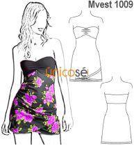 Moldes de vestidos strapless cortos