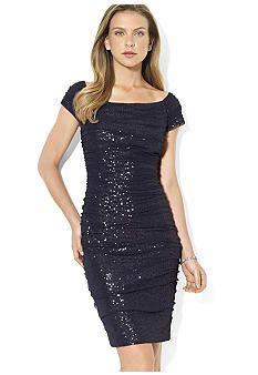 Lauren Ralph Lauren Cap-Sleeved Sequins Dress Black Sparkly Dress 277328f5168a