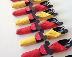 Mickey Mouse Birthday Party Cutlery, wrapped utensils, party supplies by AlishaKayDesigns on Etsy Theme Mickey, Fiesta Mickey Mouse, Mickey Mouse Baby Shower, Mickey Mouse Parties, Mickey Mouse Cupcakes, Mickey Mouse Pinata, Mickey Mouse Food, Mickey Mouse Party Favors, Mickey Mouse Table