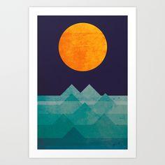The+ocean,+the+sea,+the+wave+-+night+scene+Art+Print+by+Budi+Kwan+-+$19.97
