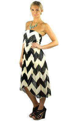 Strapless Chevron Tulip Midi Dress - Black/Beige | .H.C.B.