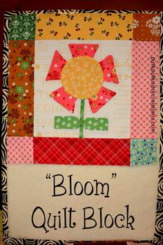 """Bloom"" Quilt Block, a sew-along with Lori Holt using her Calico Days Fabric - Pink Polka Dot Creations"