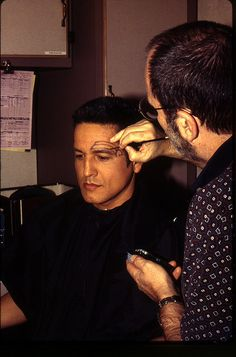 As with Dax's spots, only Mike Westmore ever applied Chakotay's tattoo on Robert Beltran--and by hand (circa 1995)