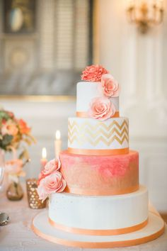 fondant summer coral and gold wedding cake ideas